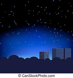 都市, 星, 夜