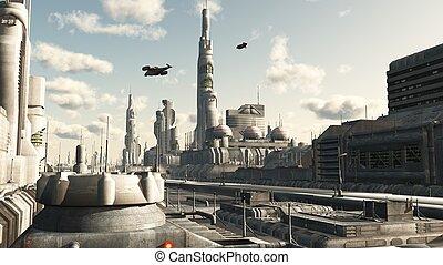 都市, 未来, 通り, 光景