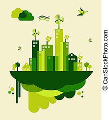 都市, 概念, 緑, イラスト