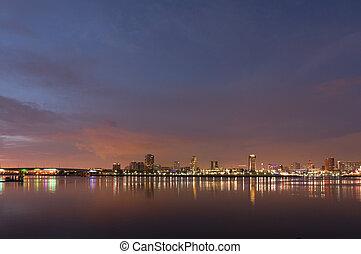 都市, 浜, 長い間, ライト