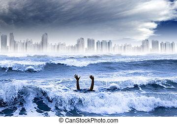 都市, 浸ること, concept., 世界的である, 水, 破壊された, 天候, 嵐, 極点, 暖まること, 人