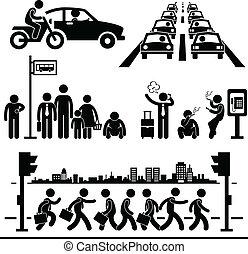 都市 生活, 忙しい, pictogram