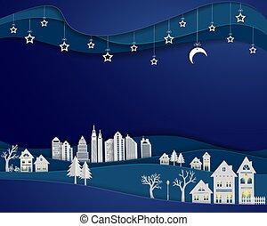 都市, 白, 風景, 芸術, 月, 現場, デザイン, 都市, ペーパー, 星, 夜, 背景, 建物