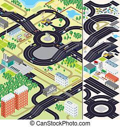 都市, 等大, map., 自動車, 家, 道