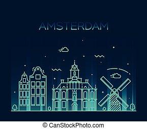 都市, 芸術, スカイライン, ベクトル, 最新流行である, アムステルダム, 線