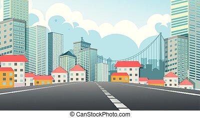 都市 通り, 現場, 光景