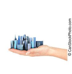 都市, 隔離された, イラスト, バックグラウンド。, やし, 白, 人, 3d