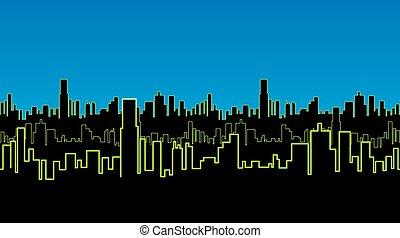 都市, 鮮やか, ストリップ, ネオン, seamless, color., 緑, 輪郭, 夜, 高い, 白熱, 建物。
