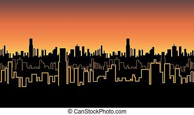 都市, 鮮やか, ネオン, seamless, 黄色, color., バンド, 日没, 輪郭, 高い, 白熱, ∥あるいは∥, 日の出, 建物。