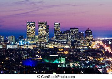 都市, dusk., 世紀, 太平洋, アンジェルという名前の人たち, los, スカイライン, ocean., 光景