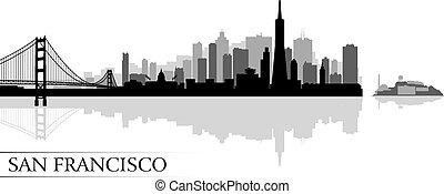 都市, francisco, シルエット, san, スカイライン, 背景