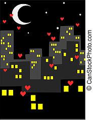 都市, hearts., -, たくさん, 夜