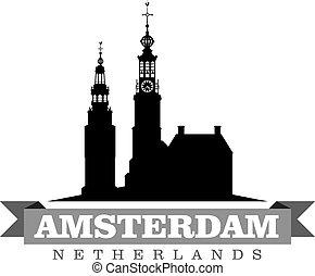 都市, netherlands, シンボル, イラスト, ベクトル, アムステルダム