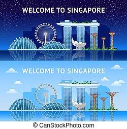 都市, singapore., day., パノラマである, 夜, 光景