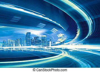 都市, trails., カラフルである, 都市ライト, 抽象的, 現代, ダウンタウンに, イラスト, 動き, 行く, スピード, ハイウェー