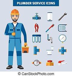 配管工, セット, サービス, アイコン