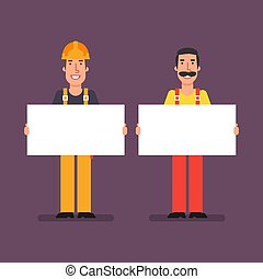 配管工, ポスター, 建築者, ペーパー, 保有物, 微笑