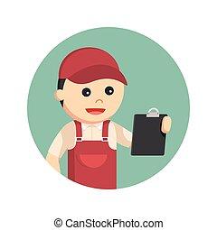 配管工, 保有物, イラスト, クリップボード, デザイン, 背景, 円