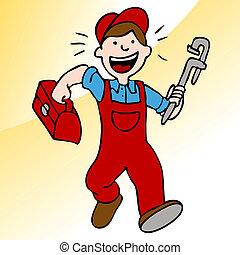 配管工, 道具箱, 動くこと, レンチ