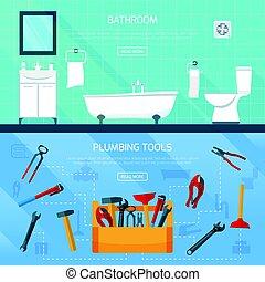 配管, 浴室, セット, 旗