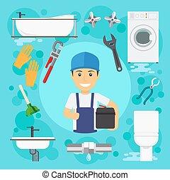 配管, engineering., 配管工, 仕事, 衛生