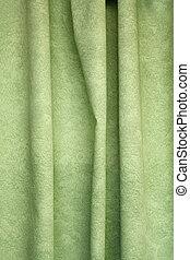 重い, ひだを取られた, 織物, 緑の背景, カーテン