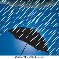 重い, 保護, 傘, 雨