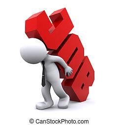 重い, 印。, 仕事, 届く, overworking, 人, concept., 3d