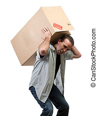 重い, 箱, 持ち上がること, 人