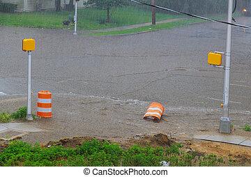 重い, 通り, 雨, どしゃ降り, 住宅の, あふれられる, の間, 後で, 都市