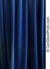 重い, 青, ひだを取られた, 織物, 背景, 暗い, カーテン