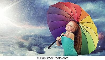 重い, redhead, 女の子, 雨