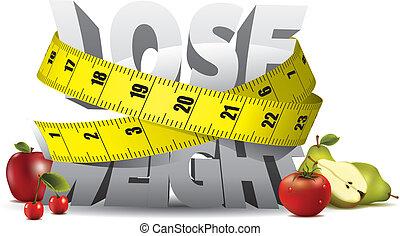 重量, 失いなさい, テキスト, 測定, テープ, 成果