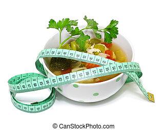 重量, 背景, 損失, 白, スープ, 野菜