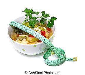 重量, 野菜 スープ, 背景, 損失, 白