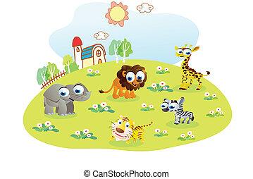 野生, 家, 動物, 庭