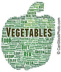 野菜, 単語, 形, 雲