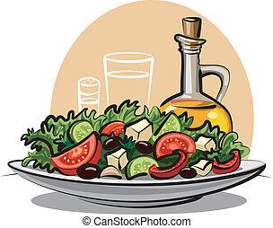 野菜, 新たに, サラダ, オリーブ油