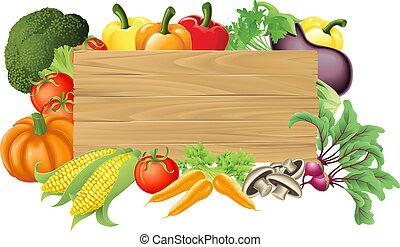 野菜, 木製である, イラスト, 印