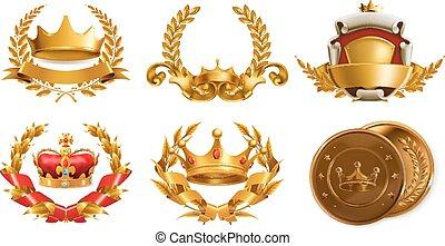 金の王冠, wreath., ベクトル, 月桂樹, ロゴ, 3d