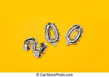 金属, 割引, 上, 理想, 数, ビュー。, symbols., ボール, きらめき, sales., 隔離された, バックグラウンド。, 金, 黄色