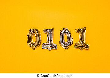 金属, 割引, 上, 理想, 数, ビュー。, symbols., ボール, 販売, きらめき, バックグラウンド。, 銀, 黄色