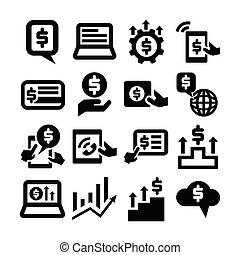 金融, アイコン, お金, ベクトル, ビジネス, セット