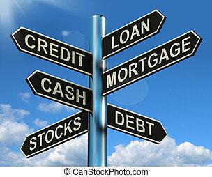 金融, 抵当, 道標, ローン, 借用, クレジット, 負債, 提示