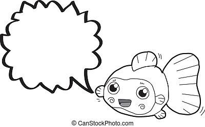 金魚, 泡, スピーチ, 漫画