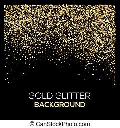金, きらめき, バックグラウンド。, 紙ふぶき, ほこり, 爆発, 黒, ざらざらしている, 金, confetti., 抽象的