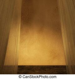 金, カーテン, 3d, 部屋