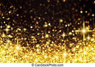 金, クリスマス, 背景, 星, ライト