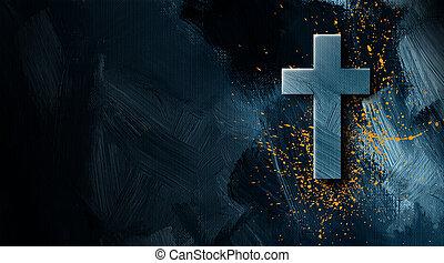 金, グラフィック, キリスト教徒, スプラッター, 交差点, ペンキ, 背景