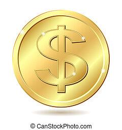金, コイン, ドル記号